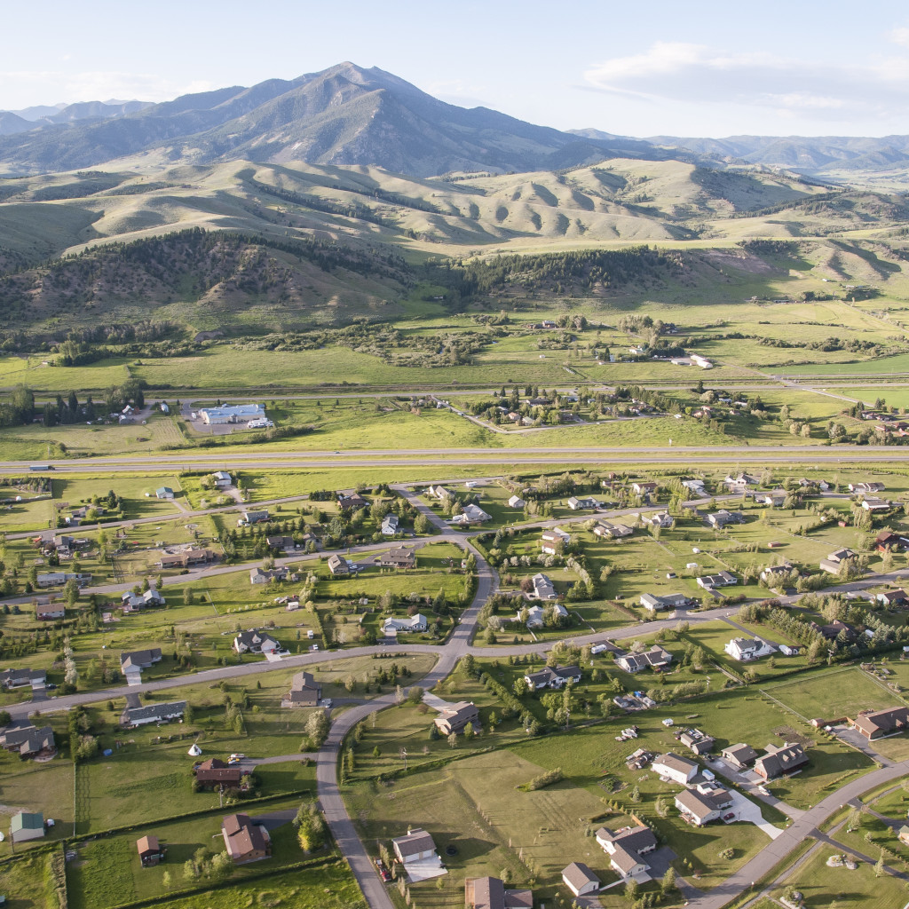 Aerial View of Small Urban town, Bozeman, MT