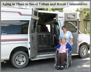 Thumbnail Image for Aging In Place report. Elderly female in wheelchair with female assistant?nurse, posed outside van with lift for accessibility.