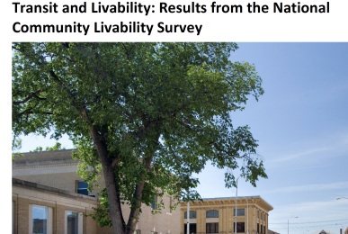 Report cover - Transit and Livability Survey