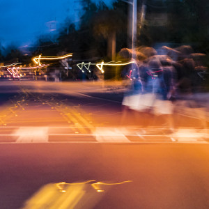Blurry image of pedestrian crossing image